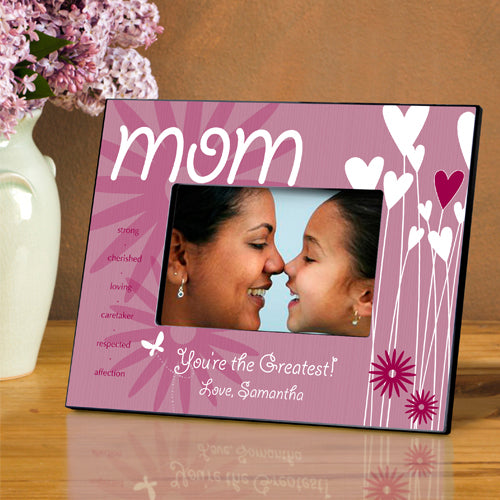 Personalized Heart and Flower Picture Frame - LazerPoints.com