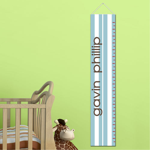 Kids Height Chart - Blue Stripes - LazerPoints.com