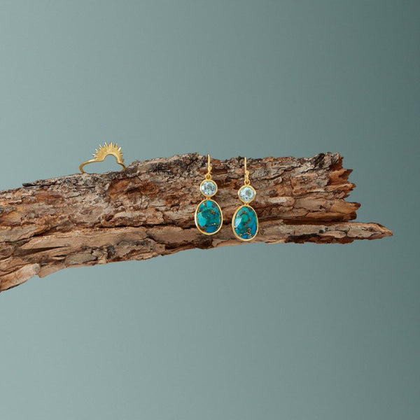 14 Karat Gold Plated Turquoise and Sky Blue Topaz Earrings - LazerPoints.com