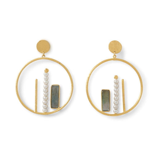 14 Karat Gold Plated Brass Labradorite and Cultured Freshwater Pearl Fashion Earrings - LazerPoints.com