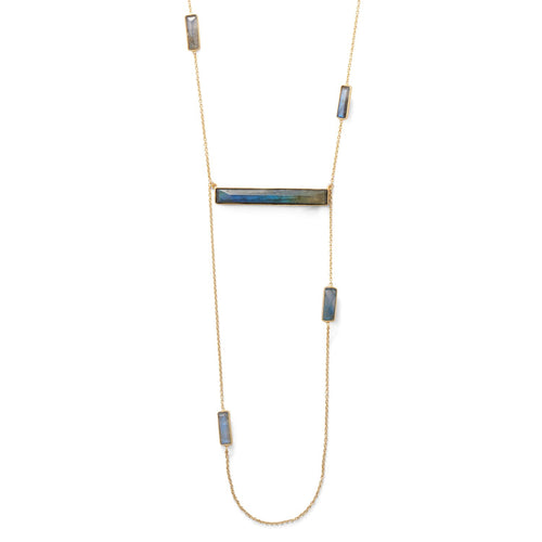 14 Karat Gold Plated Brass Labradorite Bar Fashion Necklace - LazerPoints.com