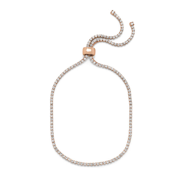 Rose Gold Tone Crystal Bolo Fashion Anklet - LazerPoints.com