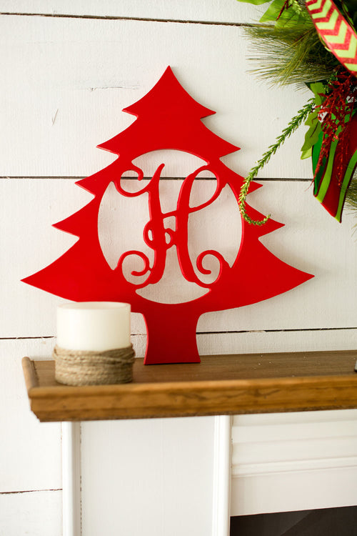 "18"" Christmas Tree Wood Monogram - LazerPoints.com"