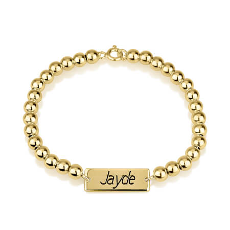 Bar Name Bead Bracelet - LazerPoints.com