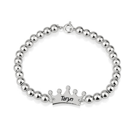 Crown Name Bead Bracelet - LazerPoints.com