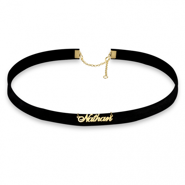 Cursive Name Choker Necklace - Gold Plated - LazerPoints.com
