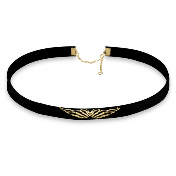 Wings of Love Choker Necklace - Gold Plated - LazerPoints.com