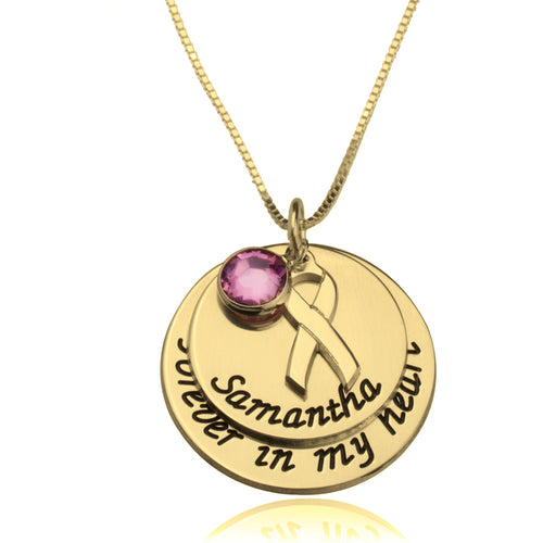 Engraved Name Breast Cancer Awareness Necklace With Pink Swarovski - LazerPoints.com