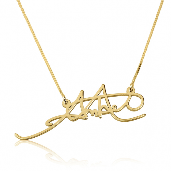 Personalized Signature Necklace - 14K Yellow Gold - LazerPoints.com