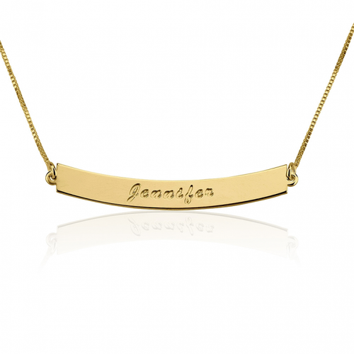 Personalized Curvy Bar Name Necklace - Gold Plated - LazerPoints.com