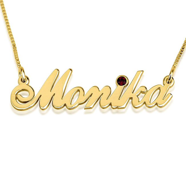 Classy Name Necklace With Swarovski Birthstone - LazerPoints.com