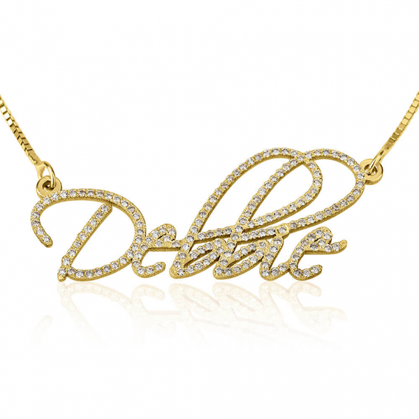Pure Gold Name Necklace with Diamond Stones - LazerPoints.com