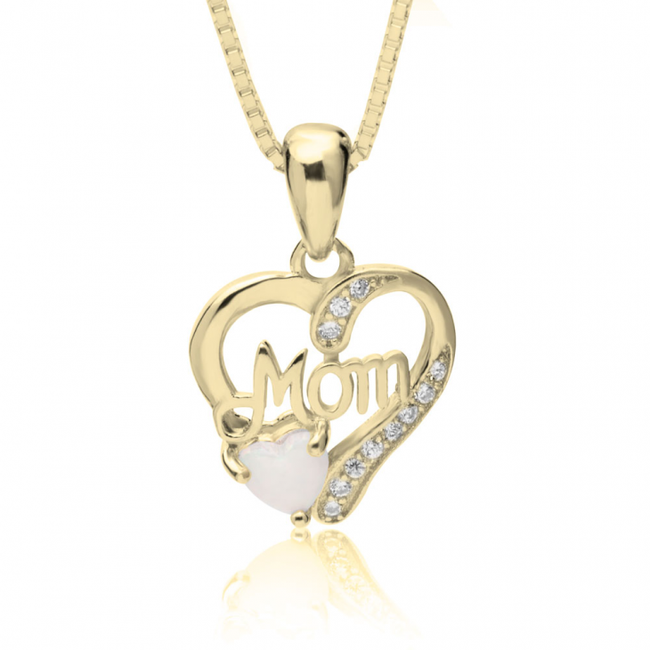 Mom In My Heart Necklace with Opal - Gold Plated - LazerPoints.com