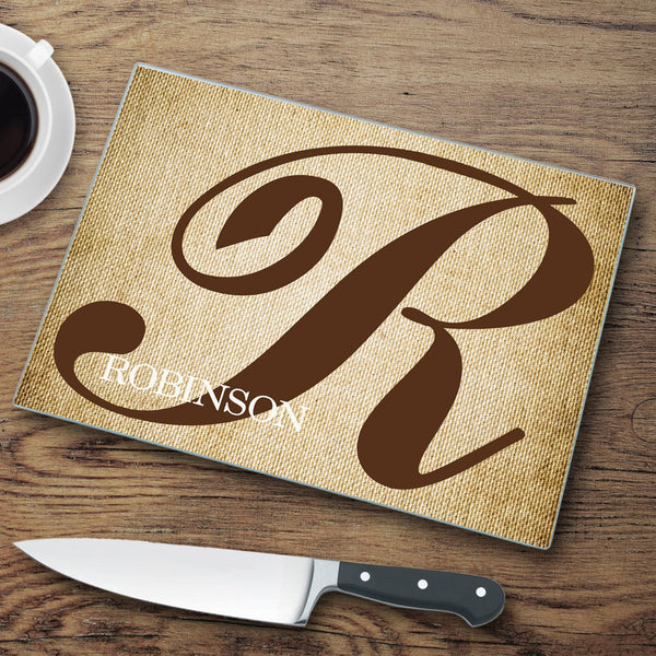 Personalized Glass Cutting Board - Stamped Initial - LazerPoints.com