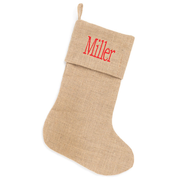 Burlap Christmas Stocking - LazerPoints.com