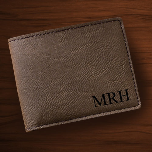 Monogrammed Leatherette Wallet - Dark Brown - LazerPoints.com