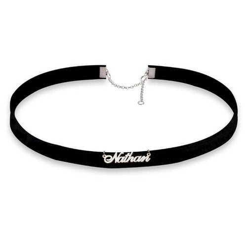 Cursive Name Choker Necklace - Sterling Silver - LazerPoints.com