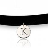 Circle Initial Choker Necklace - Sterling Silver - LazerPoints.com