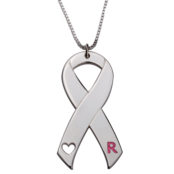 Breast Cancer Awareness Necklace With Pink Initial & Heart Cut - LazerPoints.com