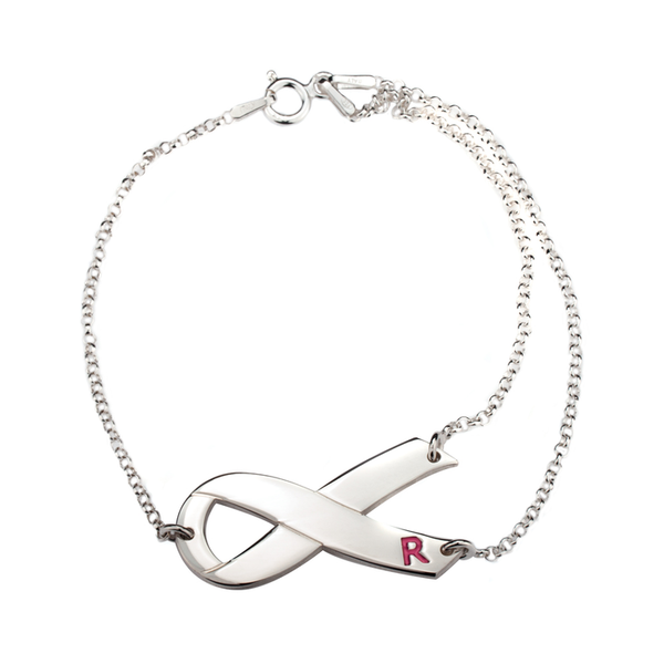 Pink Initial Breast Cancer Awareness Bracelet - LazerPoints.com