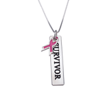 Pink Ribbon Breast Cancer Survivor Bar Necklace - LazerPoints.com