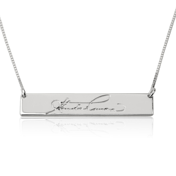 Personalized Signature Script Bar Necklace - LazerPoints.com