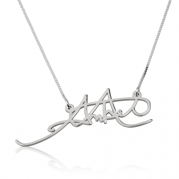 Personalized Signature Necklace - 14K White Gold - LazerPoints.com