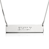 Personalized Horizontal Bar Necklace - Sterling Silver - LazerPoints.com