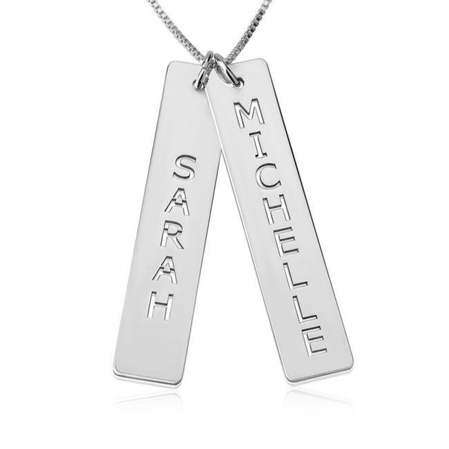 Personalized Double Bar Necklace - Sterling Silver - LazerPoints.com