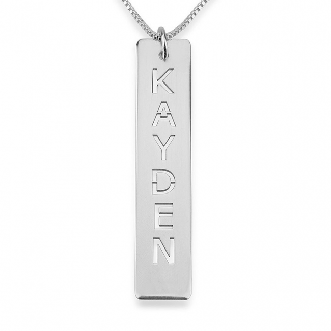 Personalized Single Bar Necklace - Sterling Silver - LazerPoints.com