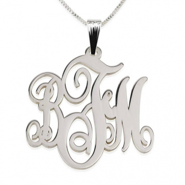 3-Initials Monogram Necklace - Sterling Silver - LazerPoints.com