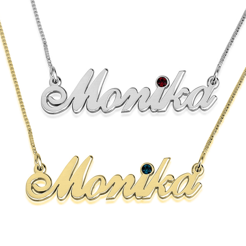Classy Name Necklace With Swarovski Birthstone