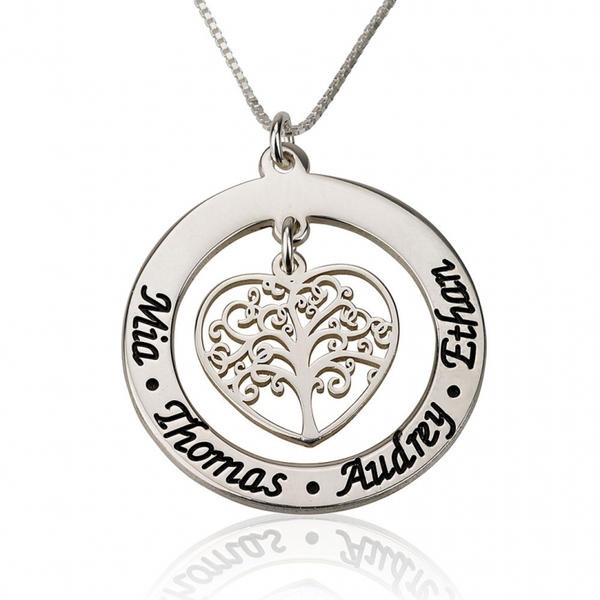 Family Tree Name Necklace - Sterling Silver - LazerPoints.com