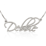 White Gold Name Necklace with Diamond Stones - LazerPoints.com