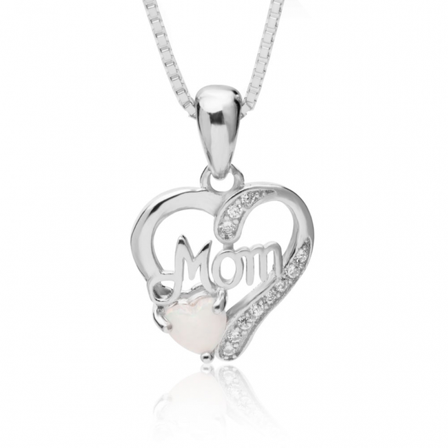Mom In My Heart Necklace with Opal - Sterling Silver - LazerPoints.com