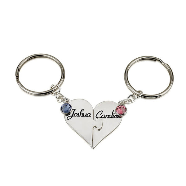 Linked Hearts Birthstone Key Chain Set (Solid 925 Silver) - LazerPoints.com