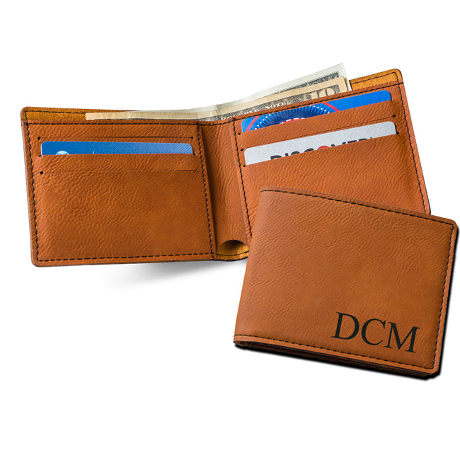 Monogrammed Leatherette Wallet - Rawhide - LazerPoints.com