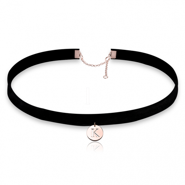 Circle Initial Choker Necklace - Rose Gold Plated - LazerPoints.com