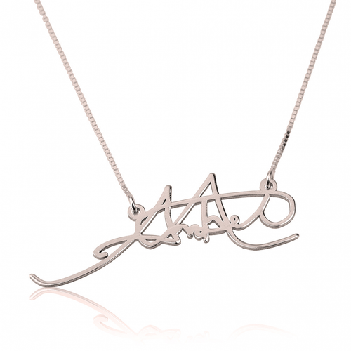 Personalized Signature Necklace - Rose Gold Plated - LazerPoints.com