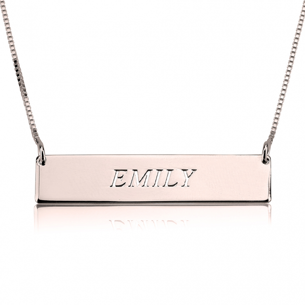 Personalized Horizontal Bar Necklace - Gold Plated - LazerPoints.com