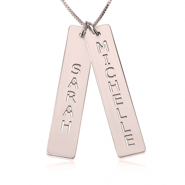Personalized Double Bar Necklace - Rose Gold Plated - LazerPoints.com