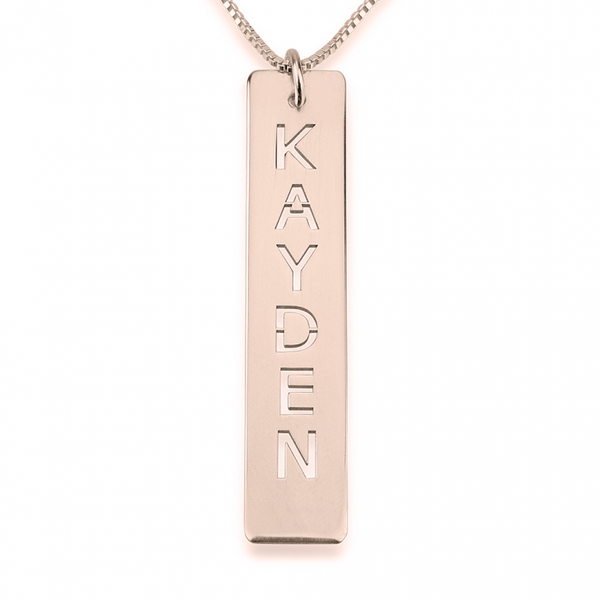 Personalized Single Bar Necklace - Rose Gold Plated - LazerPoints.com