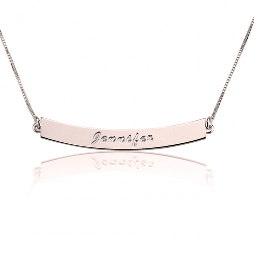 Personalized Curvy Bar Name Necklace - Rose Gold Plated - LazerPoints.com