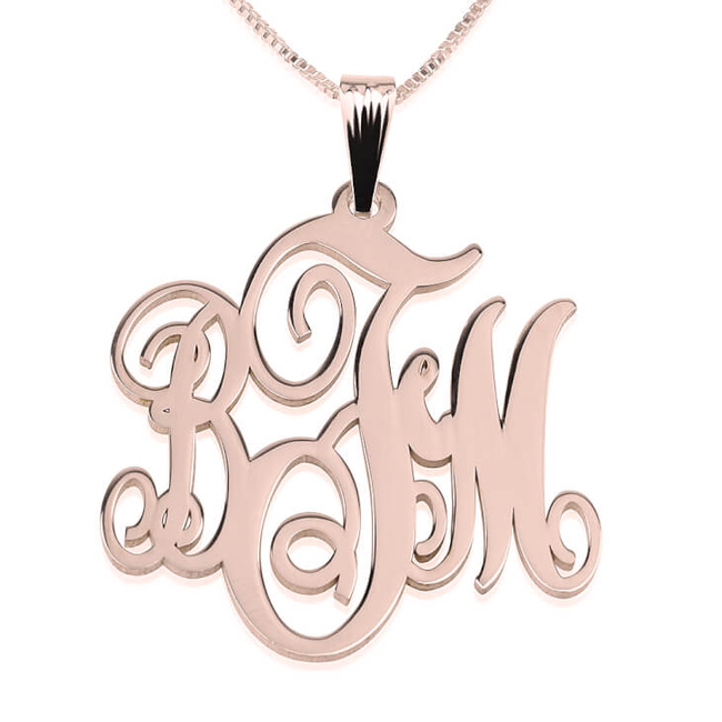 3-Initials Monogram Necklace - Rose Gold Plated - LazerPoints.com