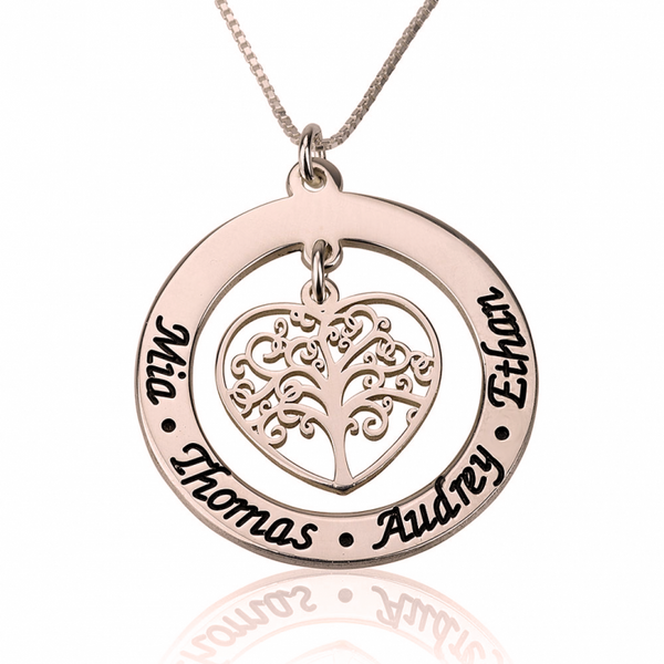 Family Tree Name Necklace - Rose Gold Plated - LazerPoints.com
