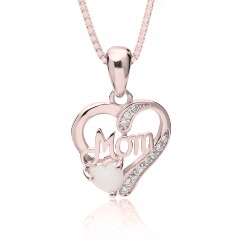 Mom In My Heart Necklace with Opal - Rose Gold Plated - LazerPoints.com