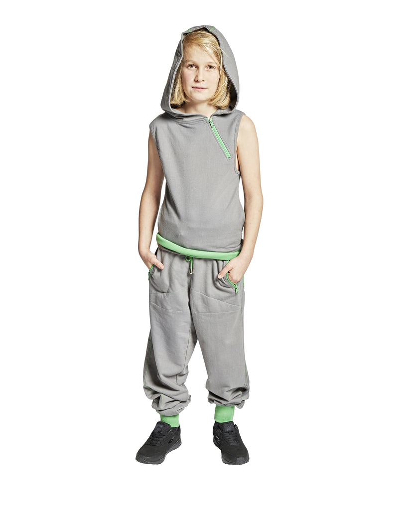 TRACKSUIT CUFFED W/OUT SLEEVES, GREY W/GREEN