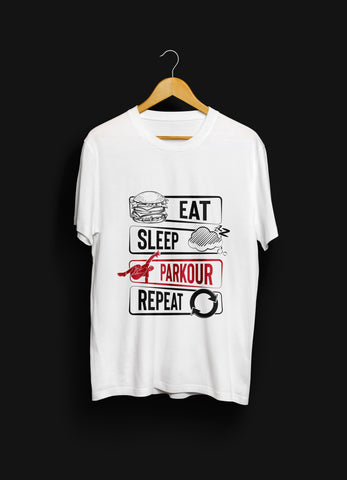 "Nyhed: ""Eat - Sleep - Parkour - Repeat"" T-shirt, hvid - Parkourshoppen"