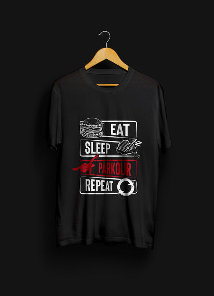 "Nyhed: ""Eat - Sleep - Parkour - Repeat"" T-shirt, sort - Parkourshoppen"