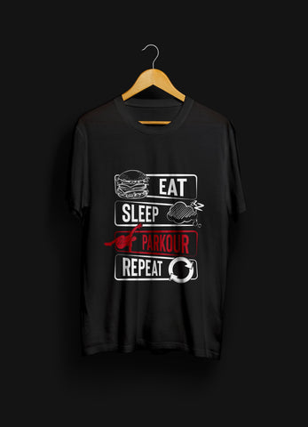 "Nyhed: ""Eat - Sleep - Parkour - Repeat"" T-shirt, sort - parkourshop"